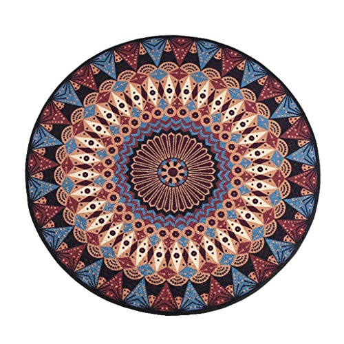 YF-Carpet Runde Teppiche Retro Floral Shag Teppich rutschfeste Webmuster Maschinenwaschbar Für Wohnzimmer Schlafzimmer Esszimmer (Runde 80 cm / 100 cm / 120 cm / 150 cm / 180 cm / 200 cm Durchmesser) (Shag Floral Teppiche)
