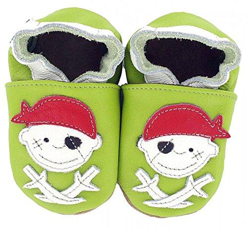 HOBEA-Germany Baby Krabbelschuhe Jungen, Schuhgröße:18/19 (6-12 Monate), Modell Schuhe:Pirat Jack grün