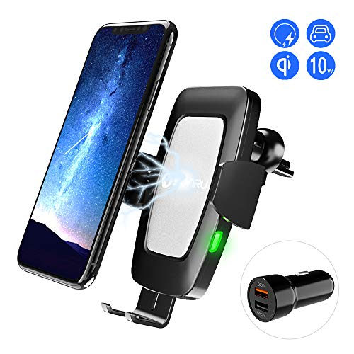 SONRU Wireless Charger Auto(Kit mit QC 3.0), Noten-Sensor Automatic Clamping Autohalterung Qi Induktions Ladegerät 7,5W/10W Fast Charging für iPhone Max XS/X/8/8 Plus, Galaxy S9/S8/S7/Note 8, Schwarz