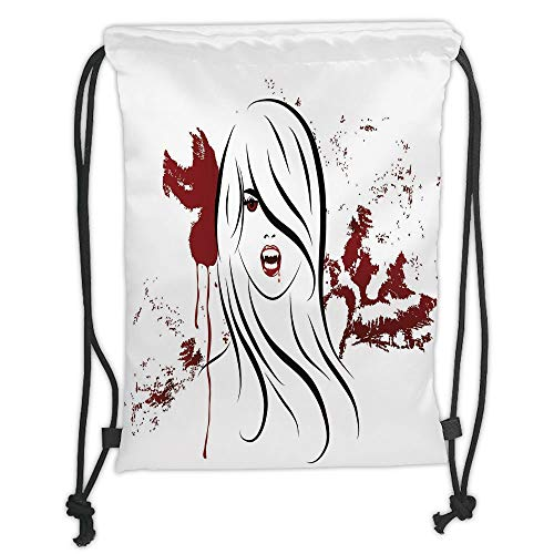 Icndpshorts Vampire,Face of Sexy Vampire Lady with Long Hair Red Lips Blood Stain Dangerous Grunge Decorative,Red Black White Soft Satin,5 Liter Capacity,Adjustable S -