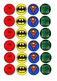 Cupcake-Topper mit Superhelden-Logos, rund, essbar, 24 Stück