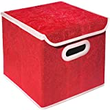 Tied Ribbons Multi-Purpose Foldable Storage Box With Lids | Magazine & Newspaper Basket Large (25 cm X 38 cm X 26 cm, 25 Ltr)