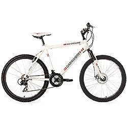 "KS Cycling Hardtail Carnivore RH - Bicicleta de montaña enduro, color blanco / negro, talla L (173-182 cm), ruedas 26"", cuadro 52 cm"