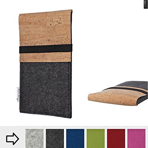 flat.design für Ruggear RG850 Schutzhülle Handytasche SAGRES mit Kork-Klappe - einzigartige Handytasche Schutz Case aus 100% Wollfilz (anthrazit) für Ruggear RG850