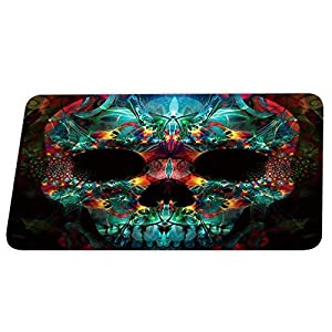JHDF Funny Sugar Skull Teal Floral Coral Bath Rugs Non Slip Shower Mat for Decor Absorbent Kitchen Floor Carpet 40 * 60CM Red Yellow and Black