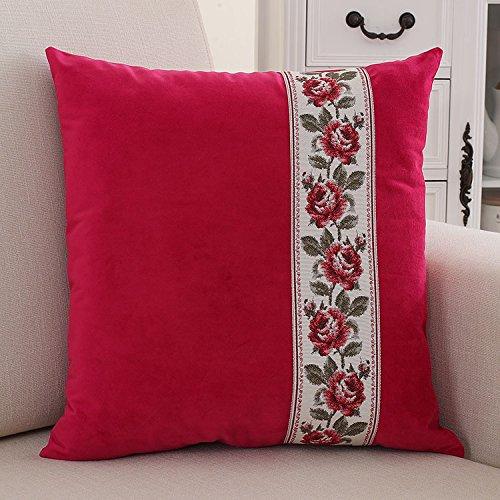 Teebxtile Haut confort velours Velvet Back support berceau rétro tissus, 45x45cm (oreiller + oreiller), le rouge