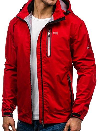 BOLF Giacca – Softshell – Con cerniera – Collo alto – Con cappuccio – Stile sportivo – Da uomo 4D4 Rosso_5505