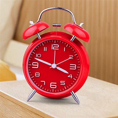 Venkaite Nostalgischer Glockenwecker Elektronischer Wecker Stille Nachtlicht Funktion Mechanischer Wecker Doppelglockenwecker (Rot)