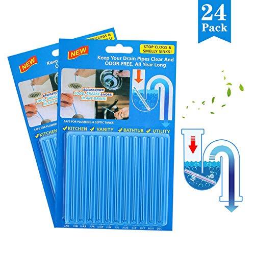YEFIDER 24 Stück Drain Sticks für Spülbecken, Badewanne, Küche Spülbecken & WC & Waschbecken und vieles mehr (Blau)