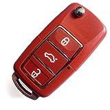 VWKS37BB- INION® Ersatz Schlüsselgehäuse - ROT / RED - mit 3 Tasten Autoschlüssel Klappschlüssel Schlüssel mit Rohlingtyp (HAA) Fernbedienung Funkschlüssel Gehäuse ohne Transponder oder Elektronik.
