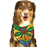 Rghkjlp Peace and Love Multi Color Flower Marijuana Leaf Weed Dog Bandana Collars Triangle Neckerchief Puppy Bibs Scarfs Pet Scarfs Cats and Baby Scarf Towel