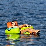 MESLE Beach Lounge 1, aufblasbarer Schwimm-Sitz, grün-orange-blau, Wasser-Sessel, ausklappbar,...