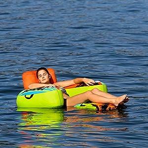 MESLE Beach Lounge 1, aufblasbarer Schwimm-Sitz, grün-orange-blau, Wasser-Sessel, ausklappbar, Air-Lounge…