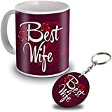 Sky Trends Best Wife Gifts for Birthday White Ceramic Coffee Mug and Wooden Circle Keychain