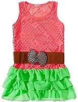 24brands - Mädchen Netz Kleid mit Stretch Gürtel / Volant Kleid / Sommerkleid - 2633