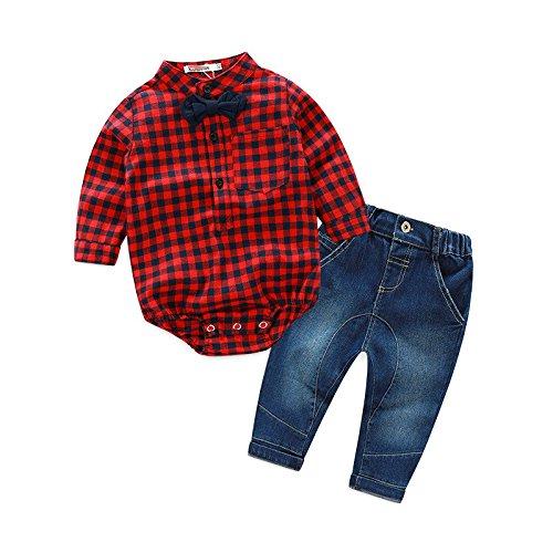 Swallowuk Baby Jungen Bekleidung Sakkos Anzüge kariertes Hemd spielanzug Jeans (80CM, rote)