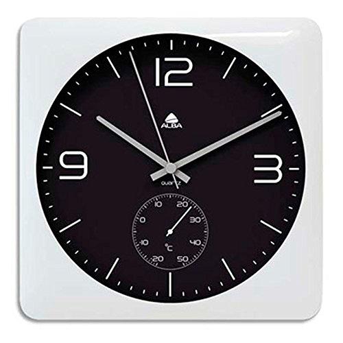 Horloge murale Duo carrée blanche en ABS et verre - pile AA non fournie - Cadran 30 x 30 cm, P3,5 cm