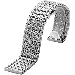 YISUYA Silver 22mm Stainless Steel Silver Tone Nine Bead Solid links Push-Button Hidden Clasp Replacement Watch Band Strap Bracelet