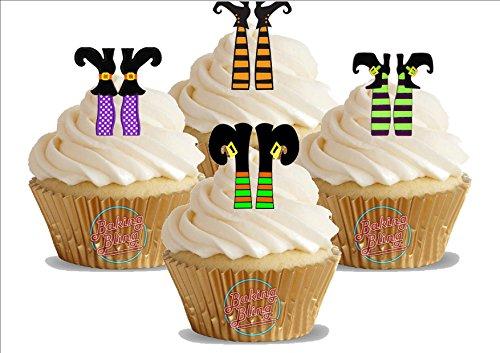 HALLOWEEN Hexen Füße Mix 12 essbare Standup Kuchen-Deko, Kuchendekorationen, essbar, Premium, 2 x A5, für 12 Bilder