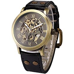 AMPM24 Vintage Roman Steampunk Skeleton Self-Winding Mechanical Leather Band Mens Watch + AMPM24 Gift Box PMW199