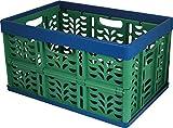 Gies 7074 Ecoline Klappbox Circa 32 L mit vernickelten Stahlstiften, Plastik, grün/blau, 475 x 320 x 65 cm