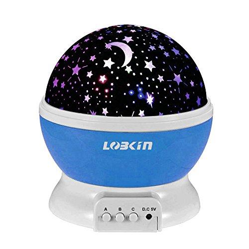 LOBKIN 360 grados de rotación 3 Modo de luz del proyector de la estrella romántica Cosmos Luna del cielo de la lámpara de proyección de luz nocturna dormitorio para niños, bebés, regalos de la Navidad, los amantes del USB / Powered.d batería (azul)