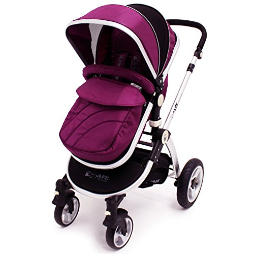 i-Safe System - Plum Trio Travel System Pram & Luxury Stroller 3 in 1 Complete With Car Seat + Footmuff + Carseat Footmuff + RainCovers  iSafe