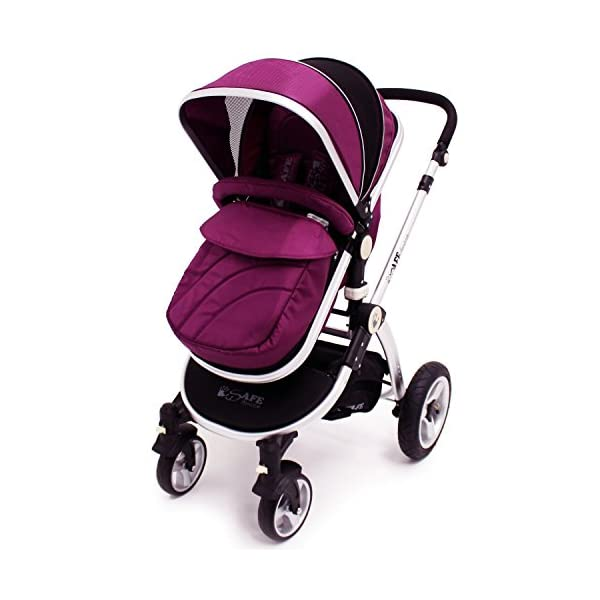 iSafe Trio Pram Stroller 2in1 - Plum (Purple) iSafe 2 in 1 Stroller / Pram Extremely Easy Conversion To A Full Size Carrycot For Unrivalled Comfort Complete With Boot Cover, Luxury Liner, 5 Point Harness, Raincover, Shopping Basket With Closed Ziped Top High Quality Rubber Inflatable Wheels With The Full All around Soft Suspension For That Perfect Unrivalled Ride 1