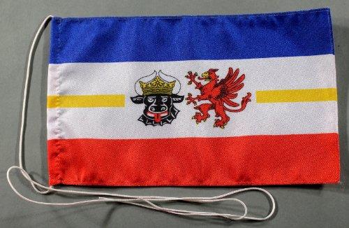 Buddel-Bini Mecklenburg Vorpommern Meckpom 15x25 cm Tischflagge in Profi - Qualität Tischfahne Autoflagge Bootsflagge Motorradflagge Mopedflagge