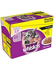 Whiskas 2-12 Months Wet Cat Food for Junior cats Poultry Selection in Gravy, Pouches, 100 g (Pack of 12)