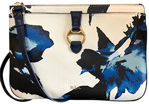 Lauren Ralph Lauren Anfield II Umhängetasche aus Leder, Blumenmuster, Marineblau