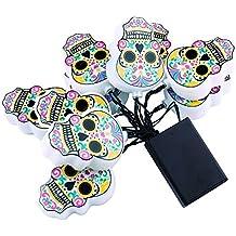 QederTEK Cadena de luces 10 LED con Forma de Calavera Mexicana para Celebrar Halloween o el Día de los Muertos