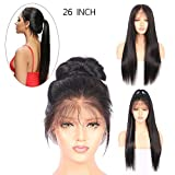 "HitTime 26"" Wig Hairpiece Glueless Front Lace Net Strong Soft Long Straight Hair"