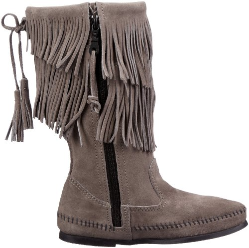 Minnetonka Calf Hi 2-Layer Fringe Boot 1681T Damen Fashion Stiefel Grau (Grey)