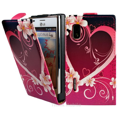 LG Optimus L5 E610 Premium Leder Flip Case - Rot Hearts Pu Leder Schutz Hülle Etui Flip Case Für LG Optimus L5 E610 - thinkmobile