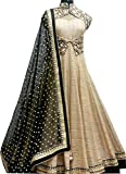#10: Everest Women's Cream-Black Banglori With Net Anarkali Style gown Lengha choli