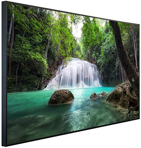 InfrarotPro | Infrarotheizung 900 Watt | Bildheizung 120x75x3 cm | Made in Germany | Geprüfte Technik | Ultra-HD Auflösung | (Wasserfall im Grünen Dschungel)