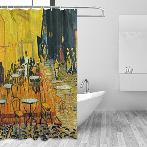 jstel Van Gogh Cafe Duschvorhang Schimmelresistent und Polyester-Wasserdicht-182,9x 182,9cm für Home Extra Lang Badezimmer Deko Dusche Bad Vorhänge Liner mit 12Haken