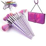 Einhorn Make-up Pinsel Set Make-up Pinsel Professionelle Foundation Powder Lidschatten Blending Concealer Kosmetik Werkzeuge Pinsel Kit mit Fall 10 Stücke