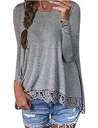 ZANZEA Mujeres Encaje Blusa Camiseta Casual Damas Oficina Elegante Cuello Redondo Mangas Largas