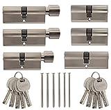 Set6 6x Zylinderschloss gleichschließend verschiedene Größen 1x40mm 1x80mm 1x 70mm/1x60mm 2x80mm mit Knauf 10x Wende-Schlüssel