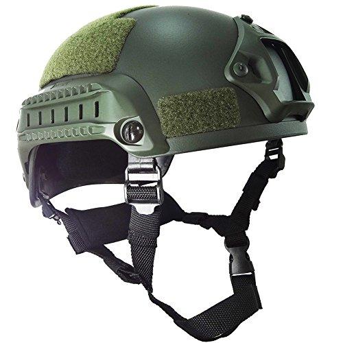 OneTigris MICH 2001 AktionVersion Taktische Helm ABS Helm für Softair Paintball (Armee Grün) (Mich Helm)