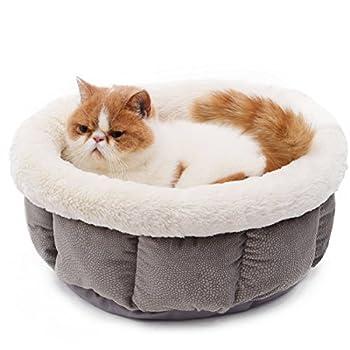 PAWZ Road Pets lit Paniere chat Caverne chaton chatiere chat Form Rond Ultra Doux de laine Pour Chiens chats pour Animaux De Compagnie Lavable En Machine ( Couleur : Gris )