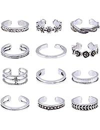 1 Row 1 PCS Silver Plated Clear Rhinestone Crystal Toe Ring Elasticated