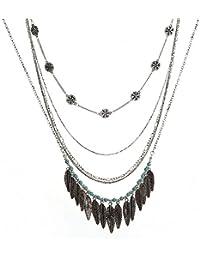 LUREME Classic Multilayer Leaf Tassel Pandant Necklace para Mujeres (nl006109)