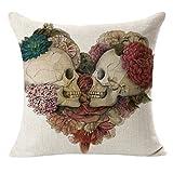 FEITONG Impresión teñido Peony Sofá Inicio Funda de almohada cama cubierta decoración Cojín (Blacnco)