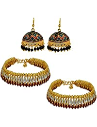 High Trendz Combo Of Traditional Meenakari Jhumki With Kundan Studed Payal/Anklet For Women & Girls