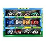 Set von 12 Mini-Rückzieh Auto Fahrzeug Spielzeugmodelle für Kinder, Polizeiaut
