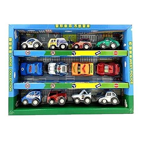 12 mini modèles de jouets de véhicule de traction arrière, la voiture de police