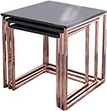 DuNord Design Coffee Table Set of Three Stage Matte Copper Table Set Graphite